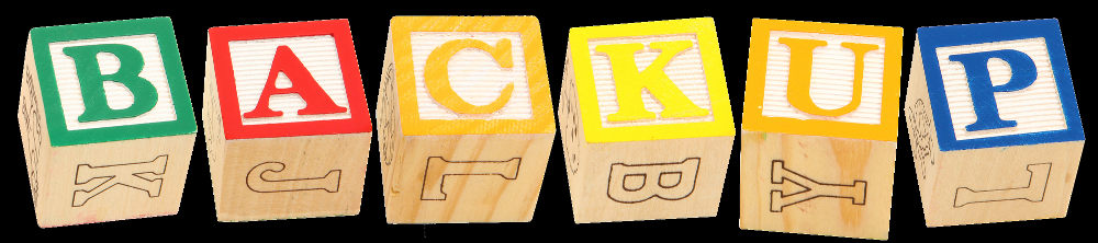 Coloured blocks spelling out BACKUP